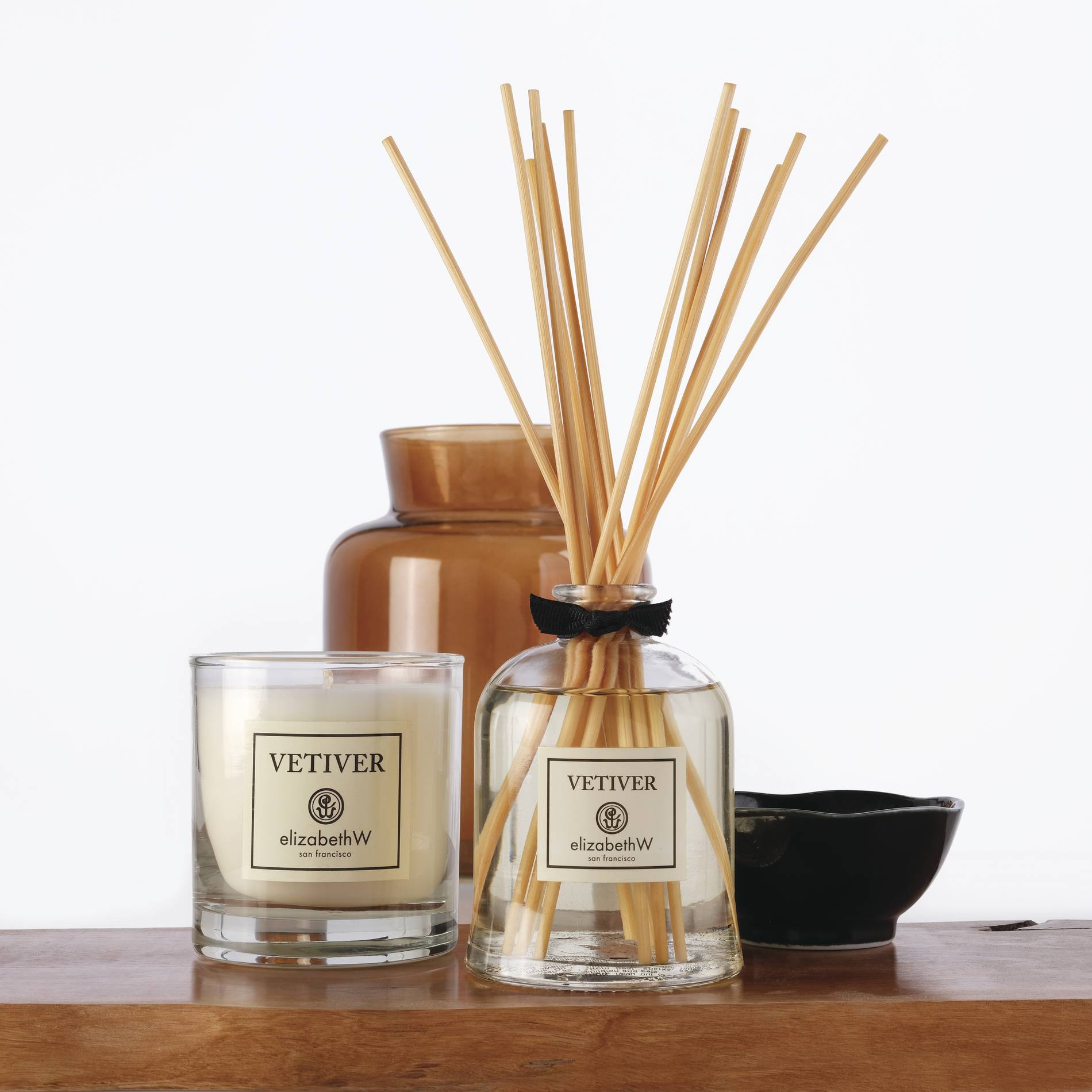 elizabethW vetiver candle and scent diffuser
